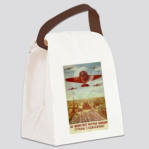 Vintage poster - Russian plane Canvas Lunch Bag