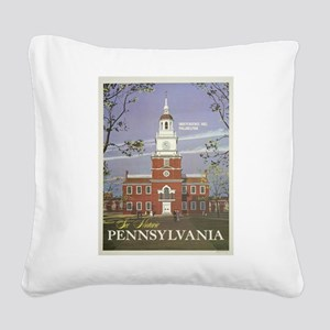 Vintage poster - Pennsylvania Square Canvas Pillow