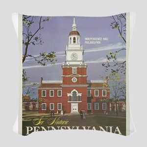 Vintage poster - Pennsylvania Woven Throw Pillow