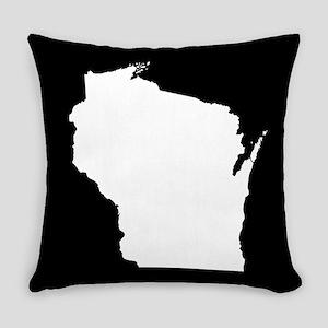 wisconsin white black Everyday Pillow