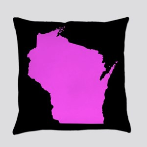 wisconsin pink black Everyday Pillow