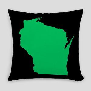 wisconsin green black Everyday Pillow