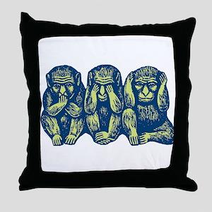 See Hear Speak No Evil Monkey Throw Pillow