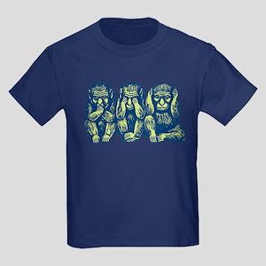 See Hear Speak No Evil Monkey Kids Dark T-Shirt