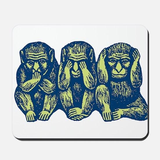 See Hear Speak No Evil Monkey Mousepad