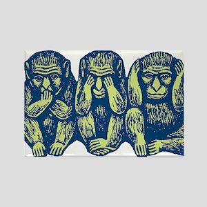 See Hear Speak No Evil Monkey Rectangle Magnet