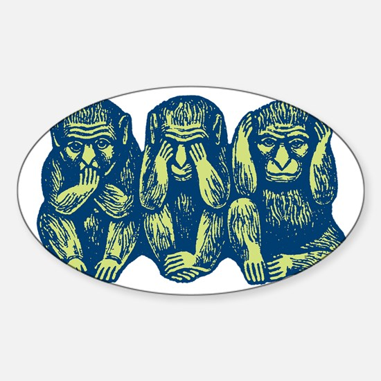 See Hear Speak No Evil Monkey Oval Decal