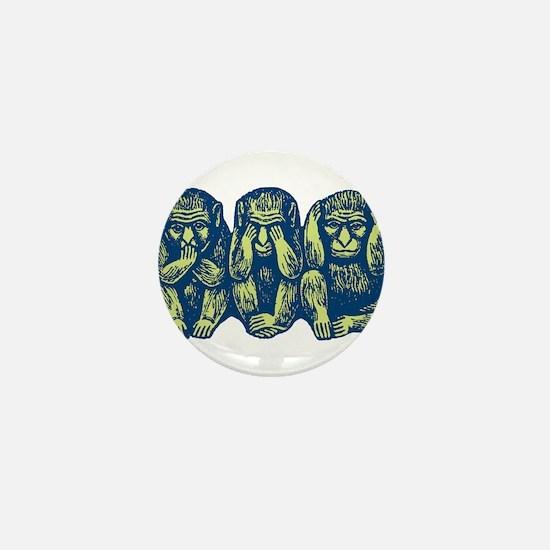 See Hear Speak No Evil Monkey Mini Button