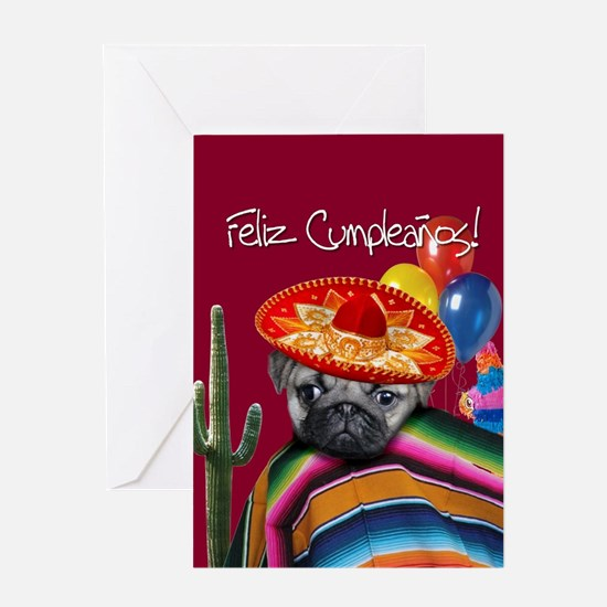 Spanish Birthday Pug Greeting Cards