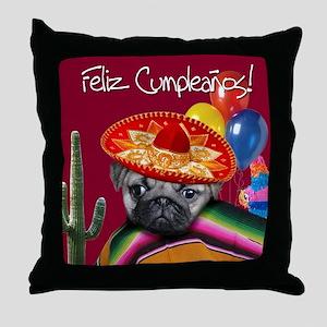 Spanish Birthday Pug Throw Pillow