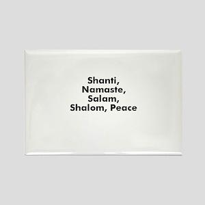 Shanti, Namaste, Salam, Shalo Rectangle Magnet