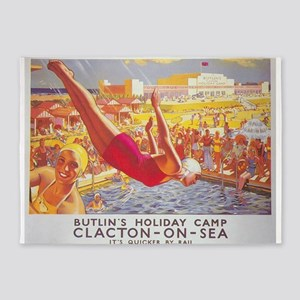 Clacton-On-Sea, England; Vintage Tr 5'x7'Area Rug