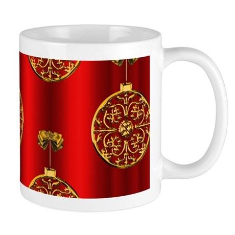 Gold and Red Christmas Baubles Mugs