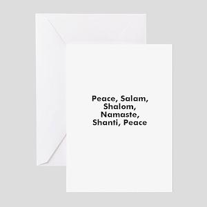Peace, Salam, Shalom, Namaste Greeting Cards (Pk o