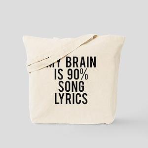 My brain is 90% song lyrics Tote Bag