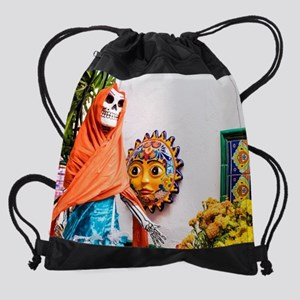 Day of the Dead Altar with Skeleton Drawstring Bag