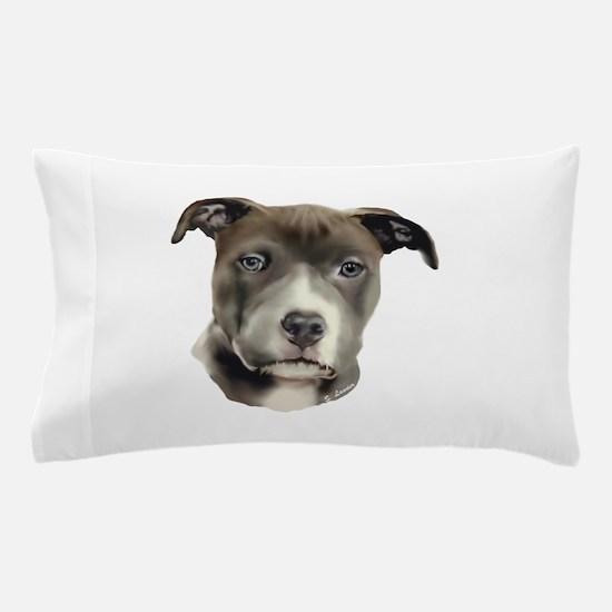 Blue Pitbull Pup Art Print Pillow Case