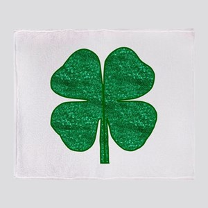 glitter shamrock Throw Blanket