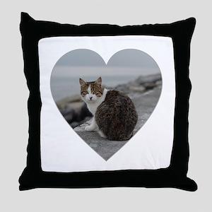 BEACH CAT Throw Pillow