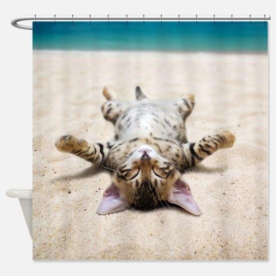BEACH CAT Shower Curtain