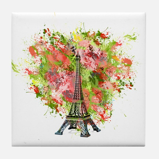 eiffel Tower Green Rose Colored Tile Coaster