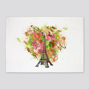 eiffel Tower Green Rose Colored 5'x7'Area Rug