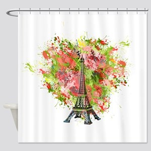 eiffel Tower Green Rose Colored Shower Curtain
