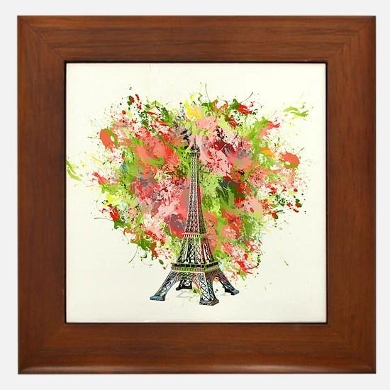 eiffel Tower Green Rose Colored Framed Tile