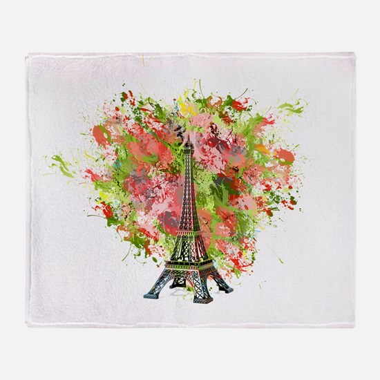 eiffel Tower Green Rose Colored Throw Blanket