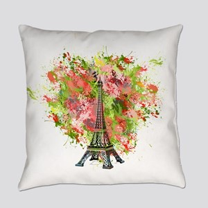 eiffel Tower Green Rose Colored Everyday Pillow