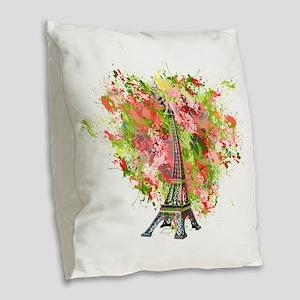 eiffel Tower Green Rose Colore Burlap Throw Pillow