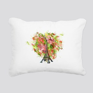 eiffel Tower Green Rose Rectangular Canvas Pillow