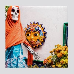 Day of the Dead Altar with Skeleton L Tile Coaster