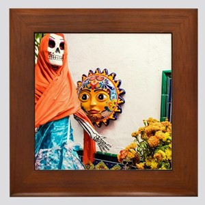 Day of the Dead Altar with Skeleton La Framed Tile