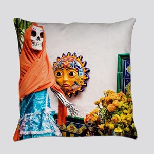 Day of the Dead Altar with Skeleto Everyday Pillow