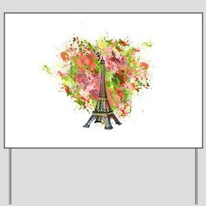 eiffel Tower Green Rose Colored Yard Sign