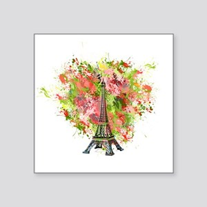 eiffel Tower Green Rose Colored Sticker