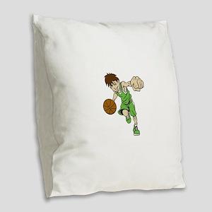 BASKET BOY GREEN Burlap Throw Pillow