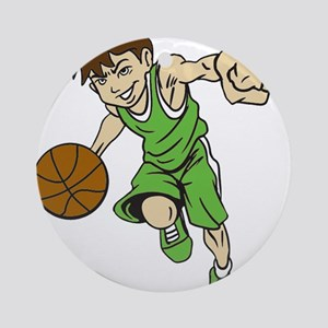 BASKET BOY GREEN Round Ornament