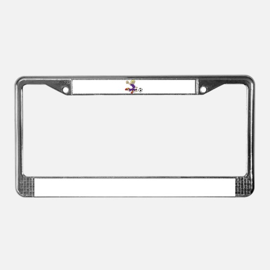 SOCCER BOY PURPLE BLONDE License Plate Frame