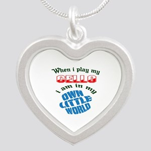 When i play my cello I'm in Silver Heart Necklace