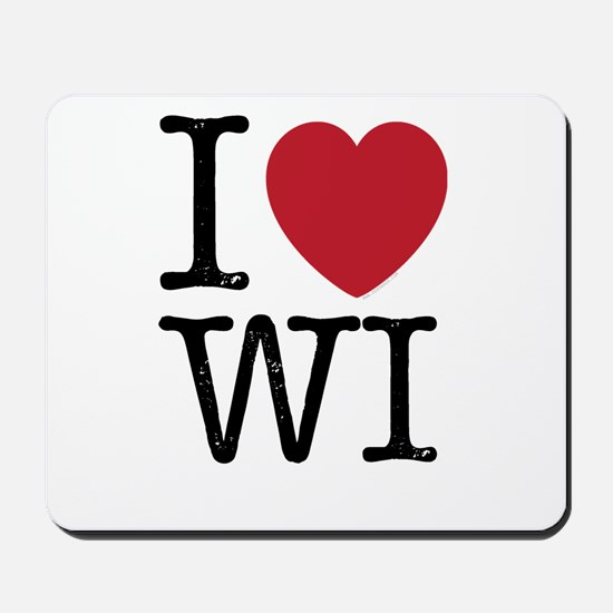 I Love WI Wisconsin Mousepad