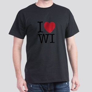 I Love WI Wisconsin Dark T-Shirt