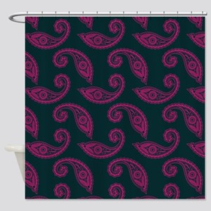 Pink Paisley On Teal Shower Curtain