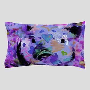 Sweet Piglet graffiti,blue Pillow Case