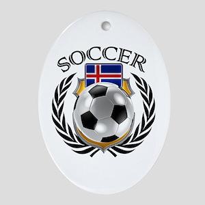 Iceland Soccer Fan Oval Ornament