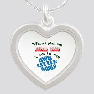 When i play my Double Bass I Silver Heart Necklace