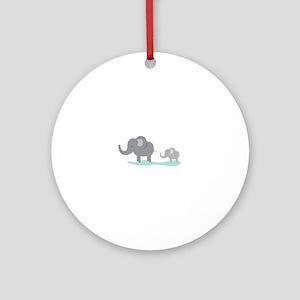 Elephant And Cub Round Ornament