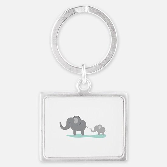 Elephant And Cub Keychains