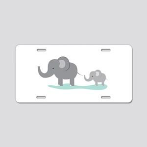 Elephant And Cub Aluminum License Plate